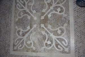 Laser cut travertine